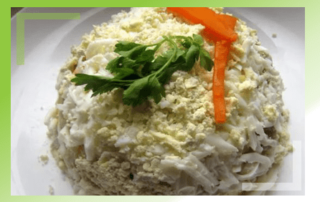 Салат из печени индейки с грибами